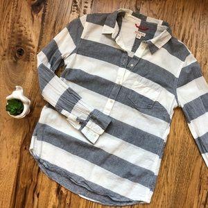 Preppy Chambray & White Striped Button Down Shirt